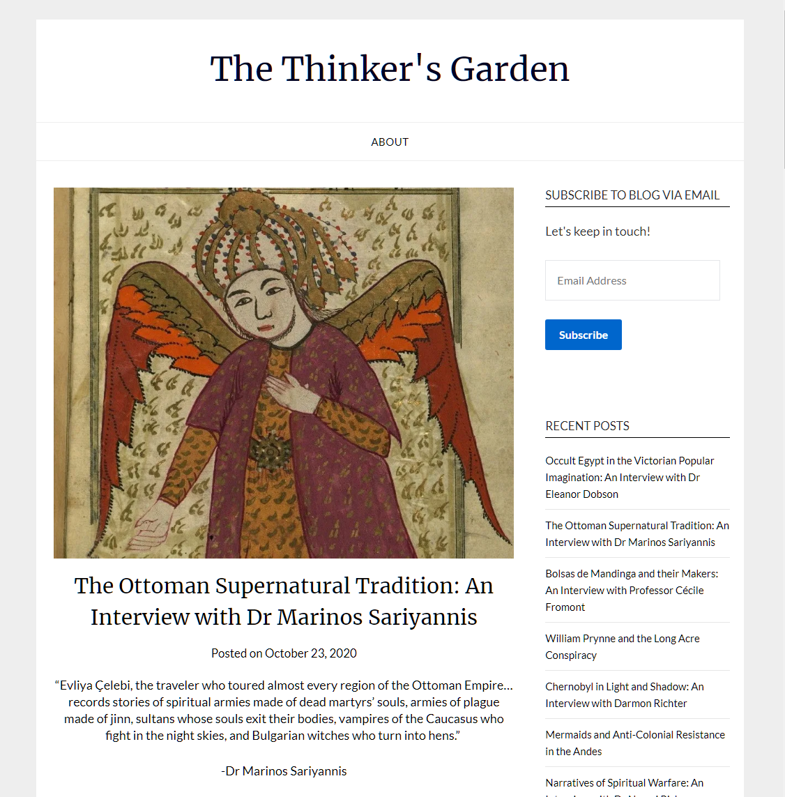 Read more about the article An Interview in the website The Thinker's Garden